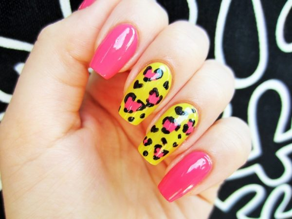 summer bright leopard nail art bmodish