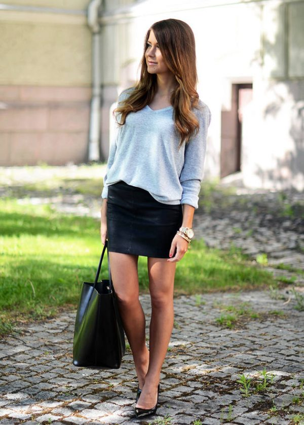 sweater with leather skirt bmodish