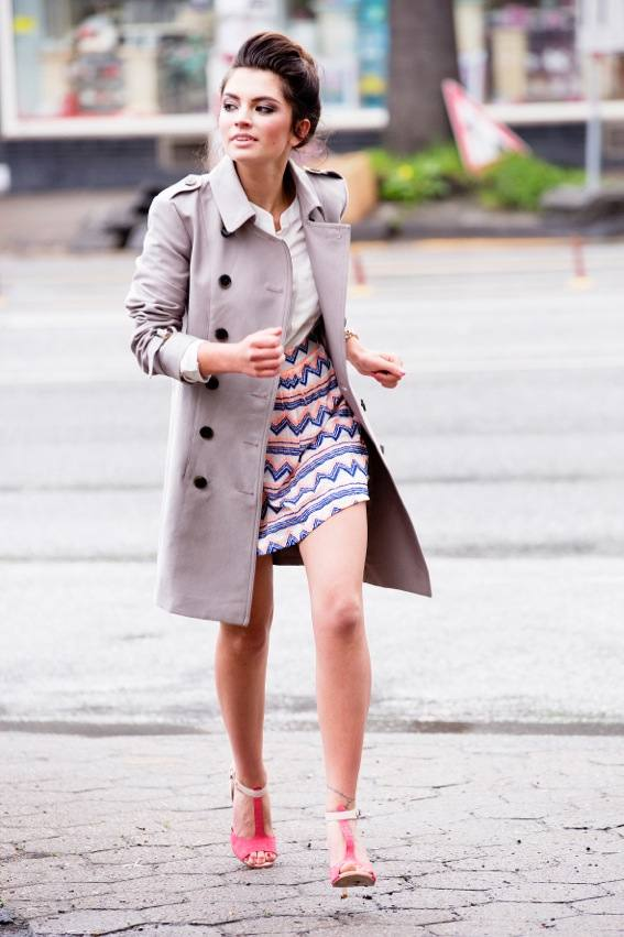 trench coat with tribal print skirt bmodish