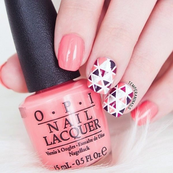triangles nail art bmodish