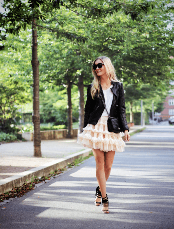 tulle skirt with leather jacket bmodish