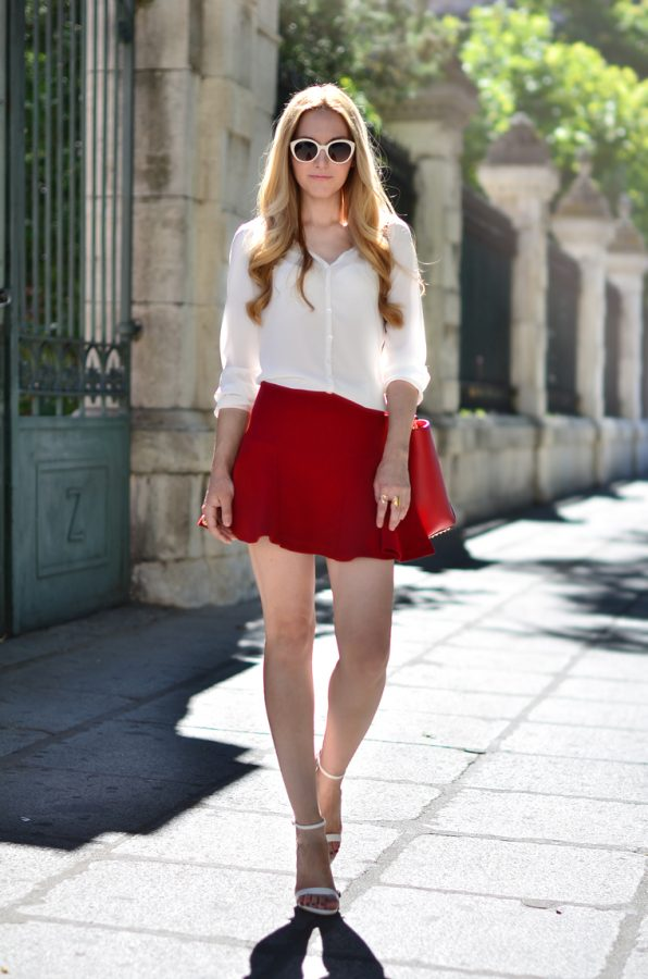 white blouse with red mini skirt bmodish