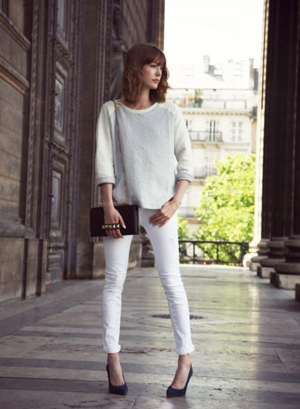 white skinny jeans with sweater bmodish