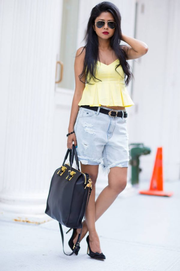 yellow cami with denim light short bmodish