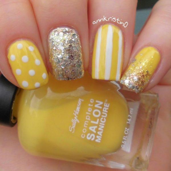 yellow vintage summer nail art bmodish