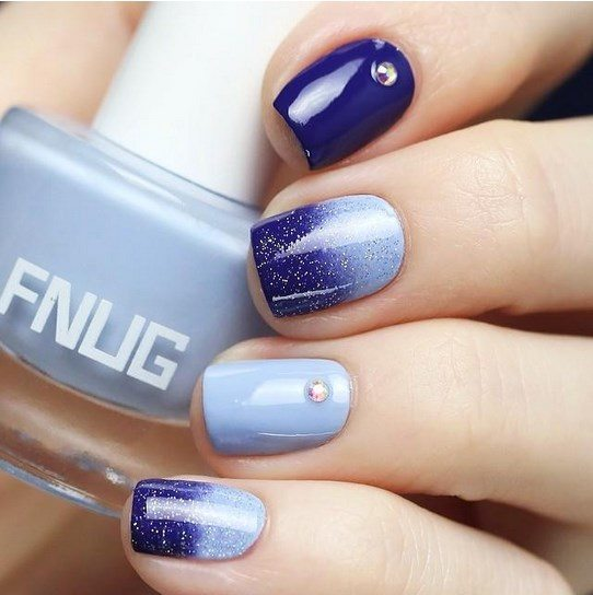blue gradient nails bmodish