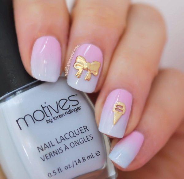 blue pink ombre nail art bmodish