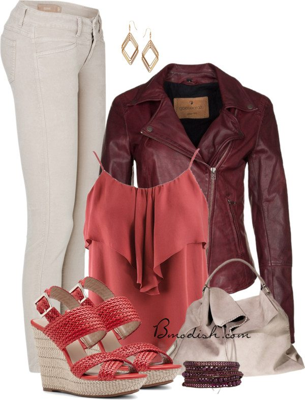 burgundy leather jacket and ruffle top outfit bmodish