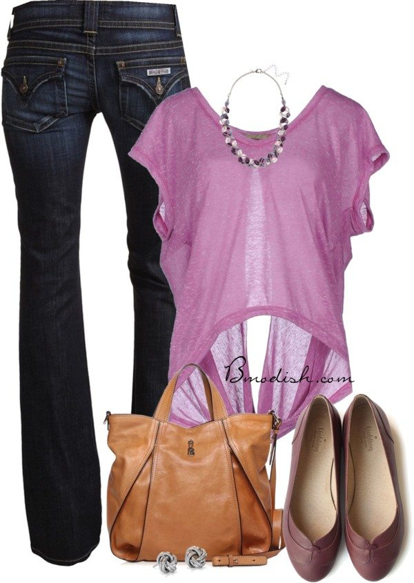 casual purple open back shirt date outfit bmodish