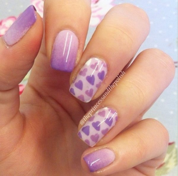 gradient hearts nails bmodish
