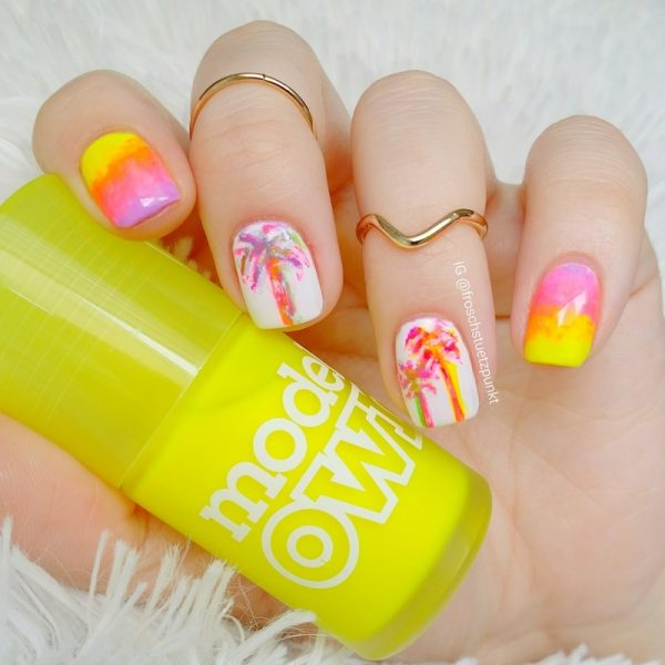 neon gradient and palm tree bmodish