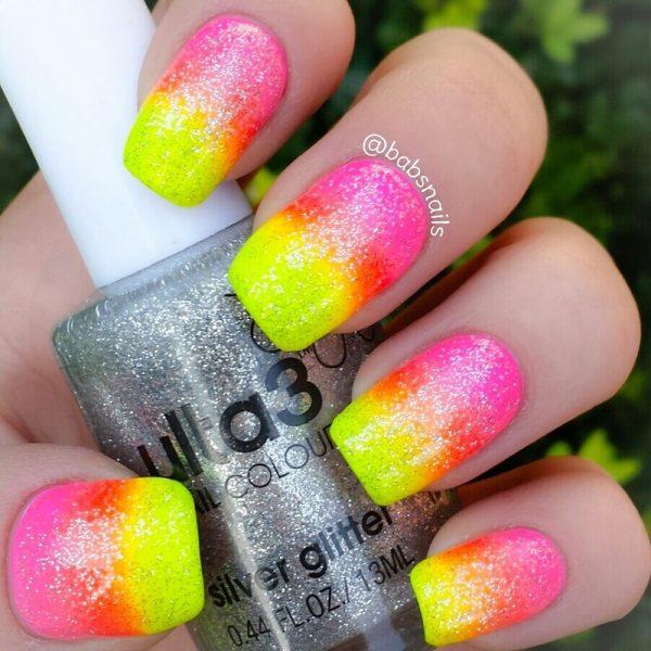 neon gradient with glitter nailart bmodish
