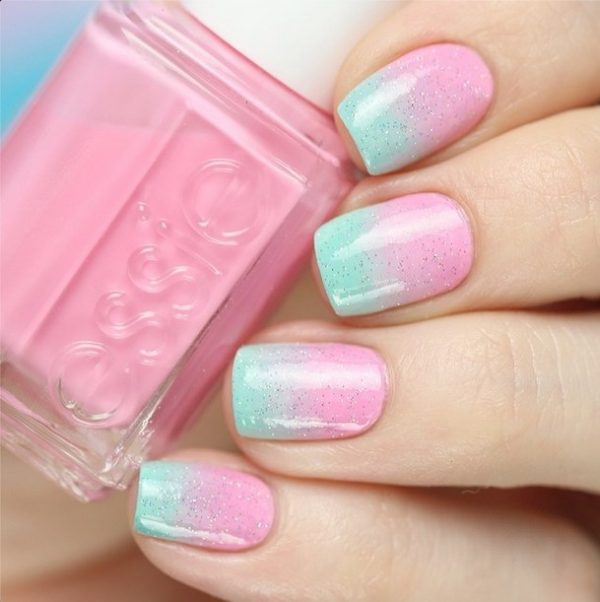 simple ombre pink to mint nailart bmodish