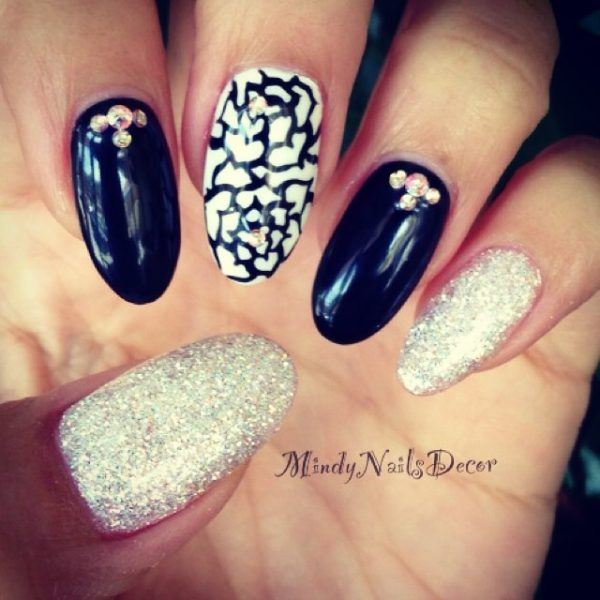 blink black and white almond nail design bmodish