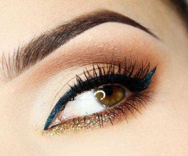 blue and glitter eyemakeup bmodish