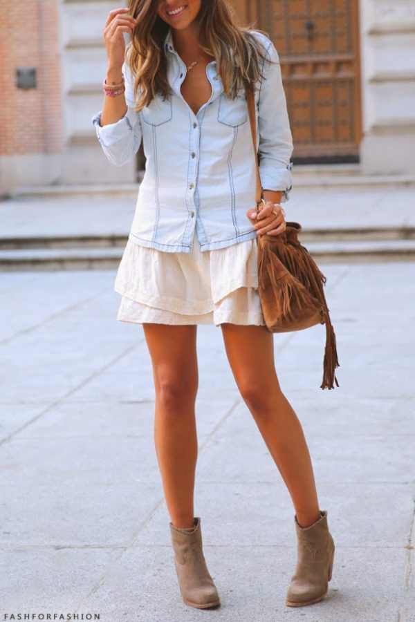 chambray, skirt and ankle boots bmodish