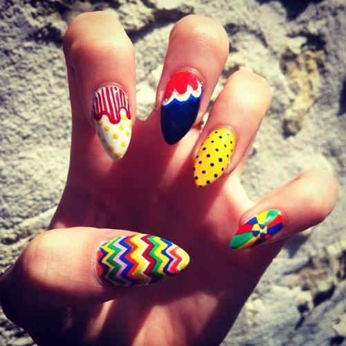 creative multicolor almond nails bmodish