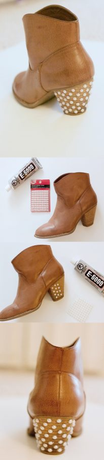 diy pearl embelished booties