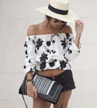 floral off shoulder blouse with short bmodish