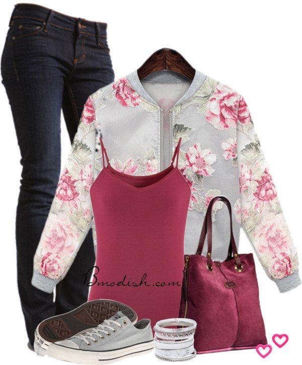 floral sweatshirt school outfit 2014 bmodish