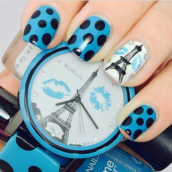 french blue nail art bmodish
