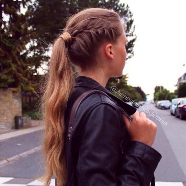 french braid into pony bmodish