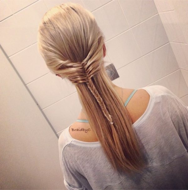 half up mermaid braid back to school hairstyles for long hair