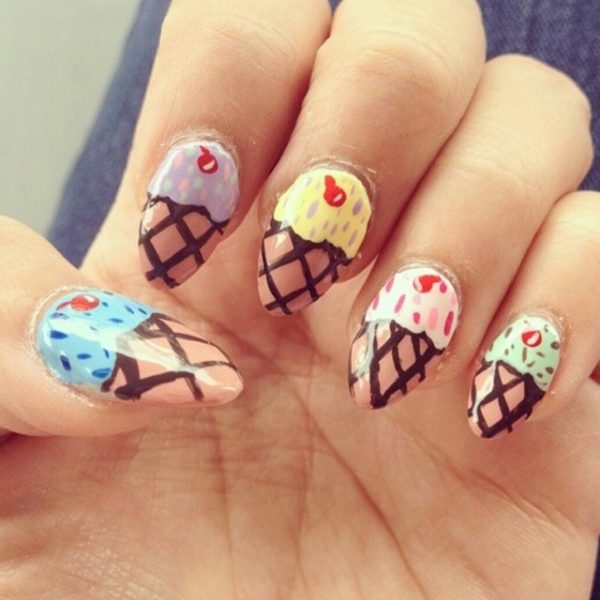 ice cream nail art almond nails bmodish