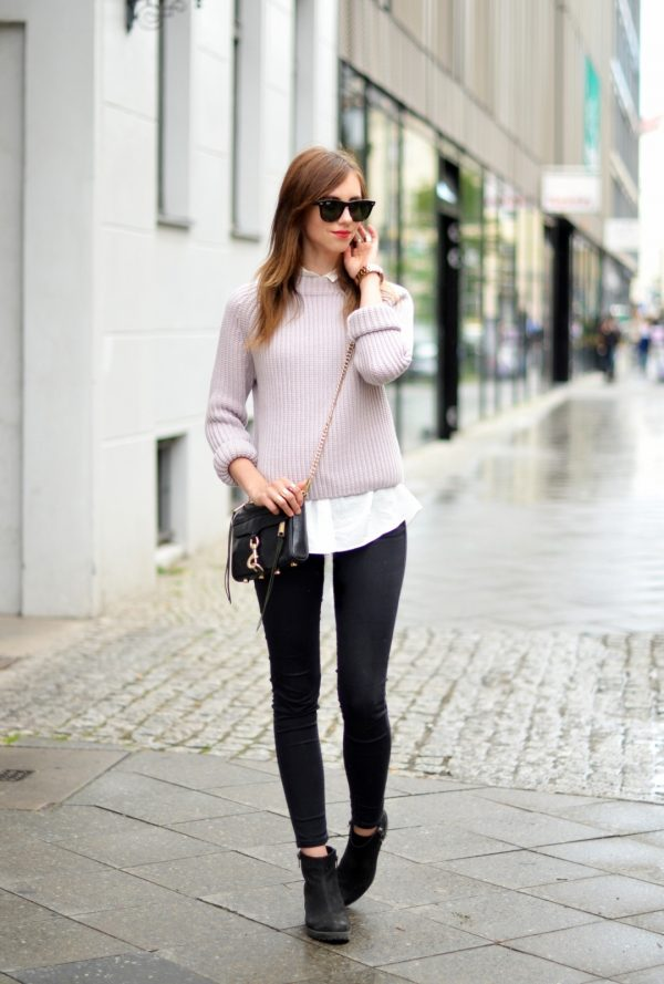 knit sweater, skinny jeans and ankle boots bmodish