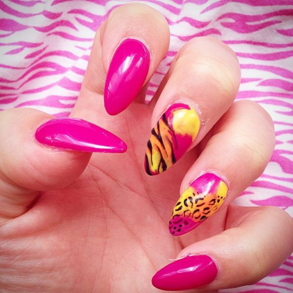 leopard print almond nail art bmodish