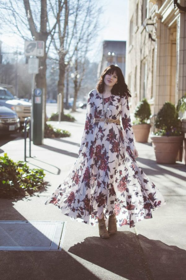 maxi dress and ankle boots bmodish