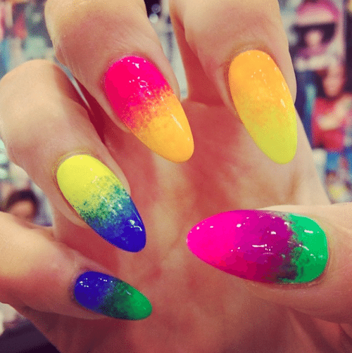 multicolor almond nails bmodish
