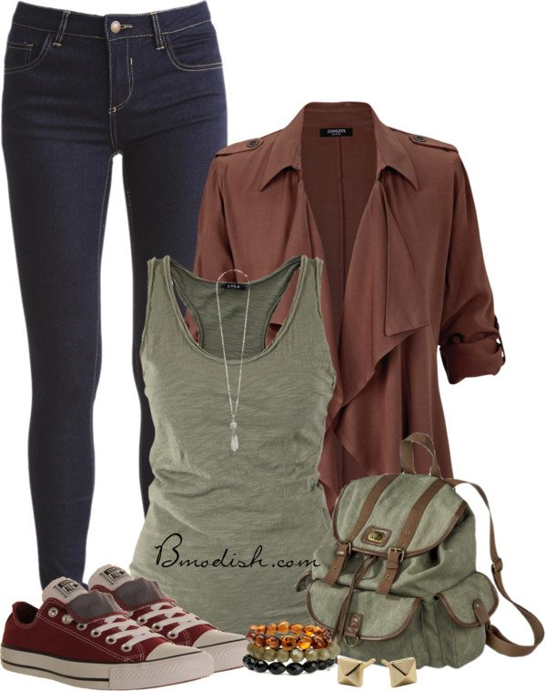 olive tank top with cardigan school outfit bmodish