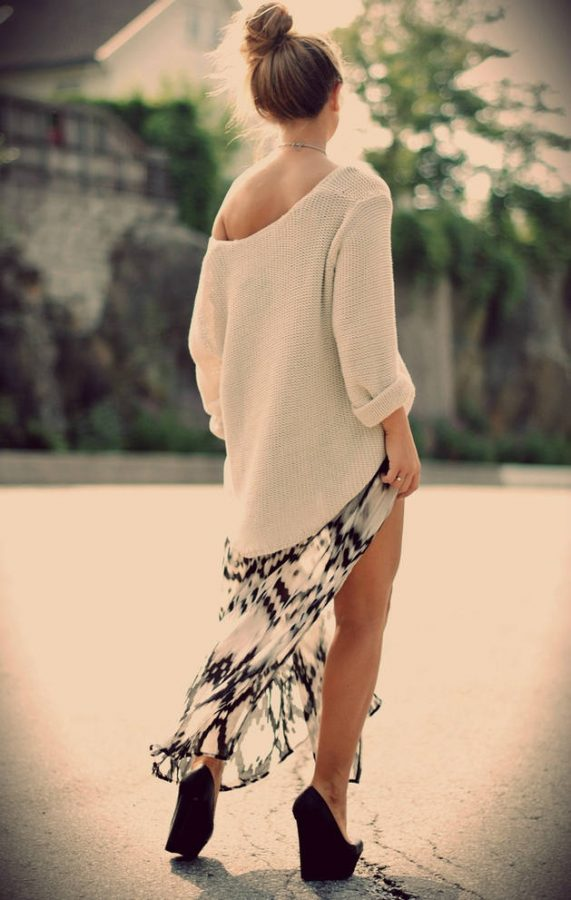 knit sweater with maxi skirt bmodish