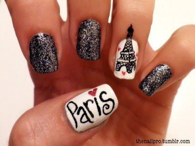 paris glitter nail art bmodish
