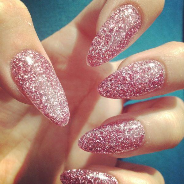 pink glitter almond nails bmodish