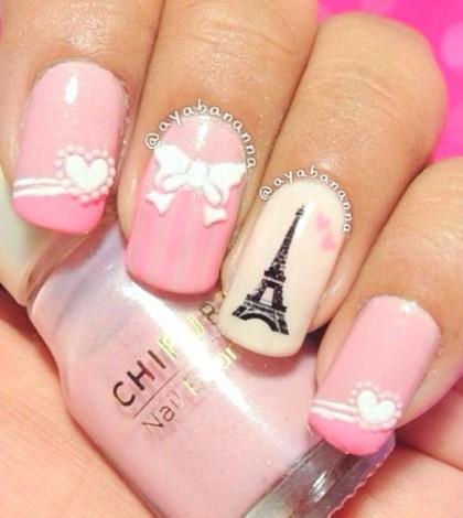 pink i love paris nailart bmodish