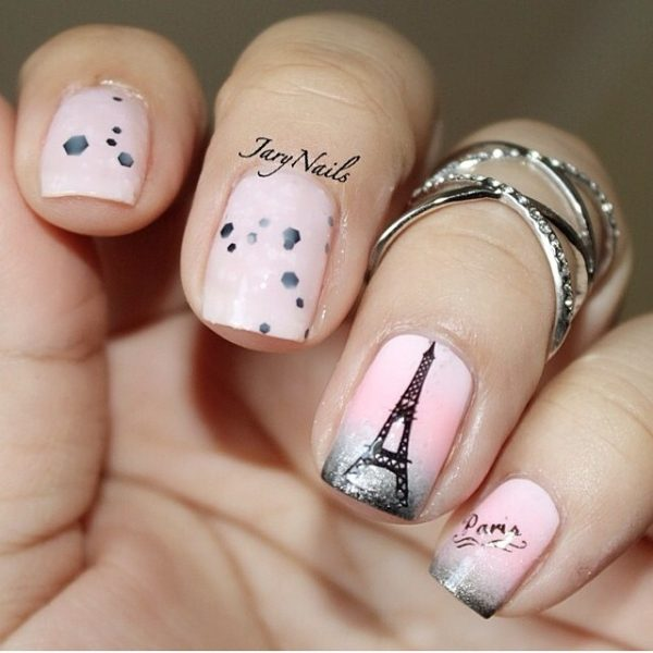 pink ombre i love paris nail art design bmodish
