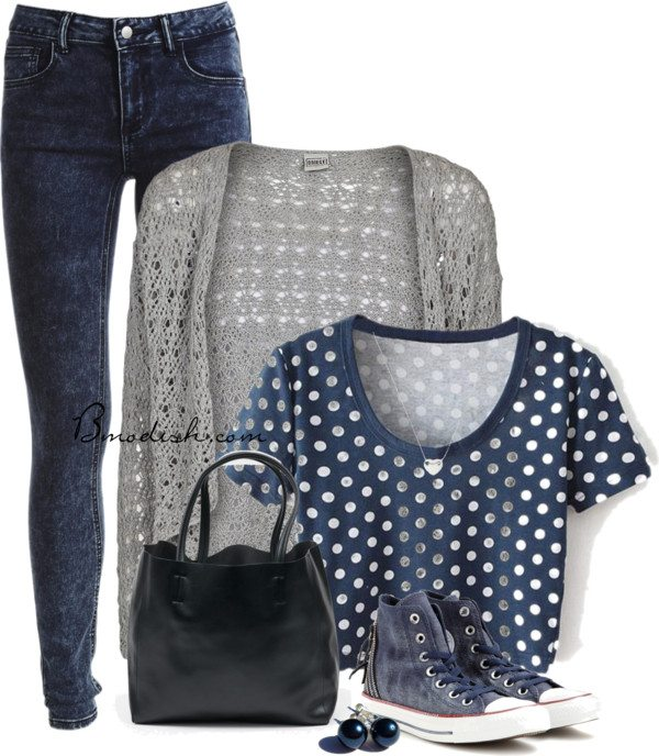 polka dots crop top school outfits