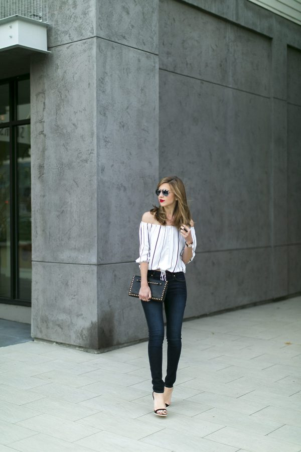 stripe blouse with skinny jeans bmodish