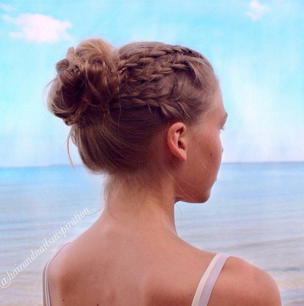 three strand braid and bun bmodish