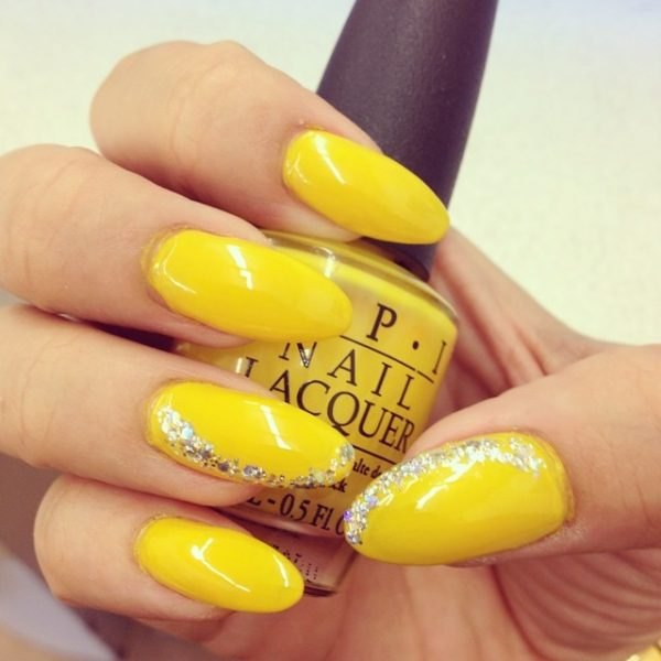 yellow glitter almond nails bmodish