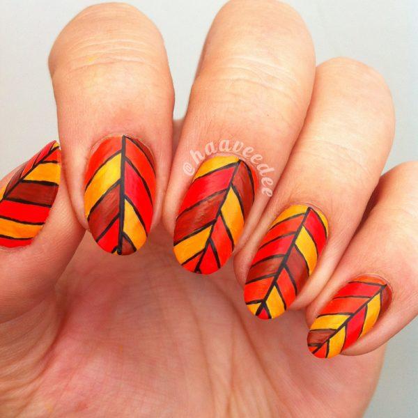 abstrack fall leaves nails bmodish