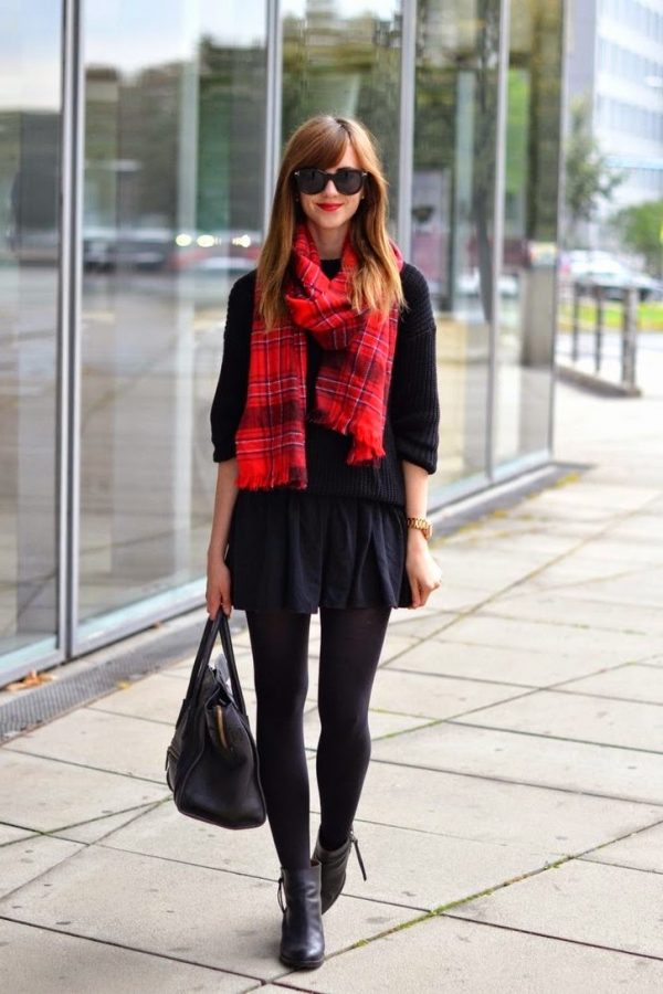 all black and tartan scarf pop bmodish