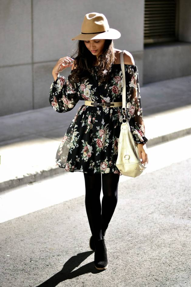 asos black floral off shoulder dress bmodish