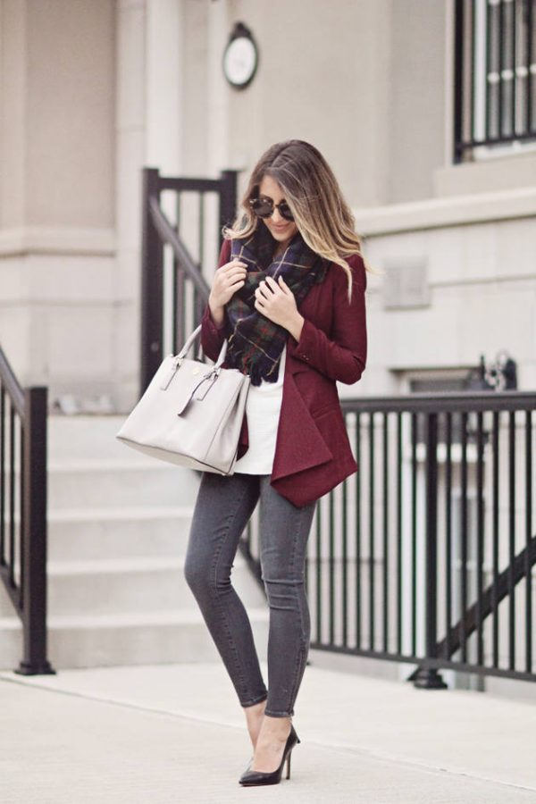 burgundy blazer for fall bmodish