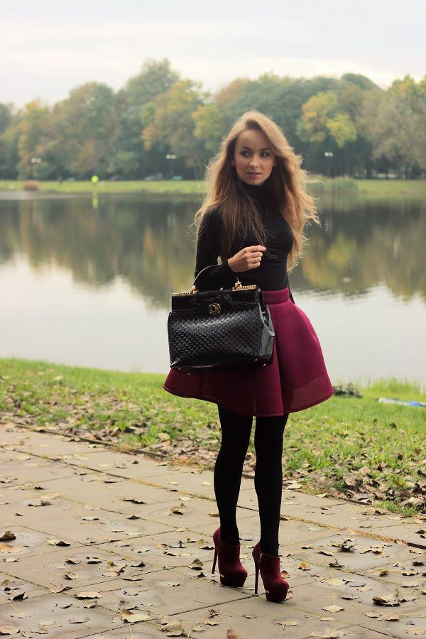 burgundy skirt for fall fashion bmodish