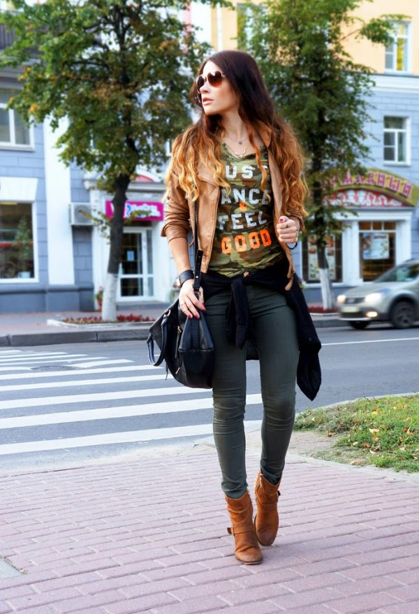 camo shirt, brown jacket and skinny jeans for fall outfits 2014 bmodish
