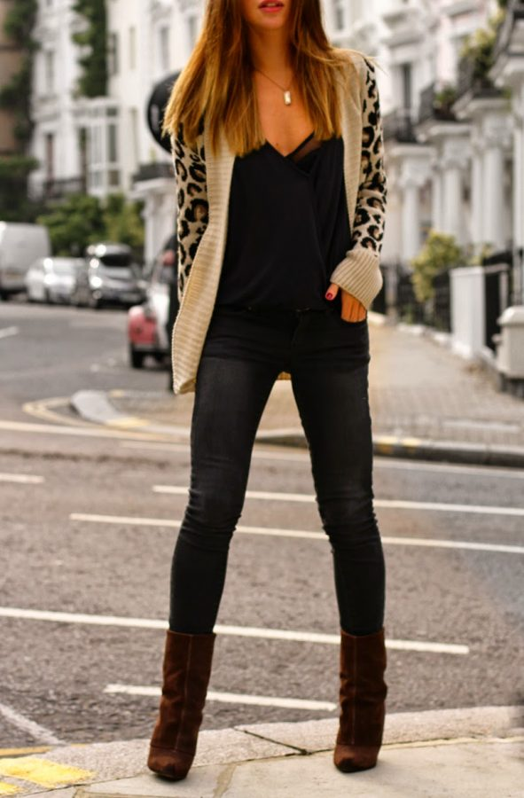 casual leopard cardigan, skinny jeans and booties for fall outfits 2014bmodish