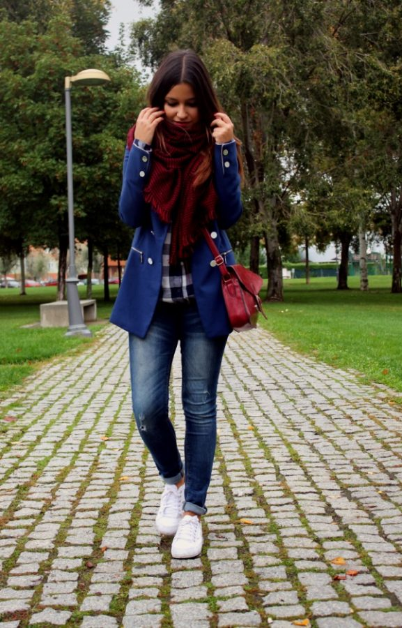 casual royal blue blazer and scarf bmodish